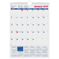 Brownline C171101 8 inch x 11 inch Monthly January 2019 - December 2019 Twin Wirebound Wall Calendar