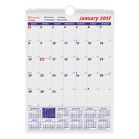Brownline C171102 17 inch x 12 inch Monthly January 2019 - December 2019 Twin Wirebound Wall Calendar