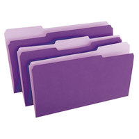 Universal UNV10525 Legal Size File Folder - Standard Height with 1/3 Cut Assorted Tab, Violet   - 100/Box