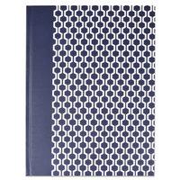 Universal UNV66351 10 1/4 inch x 7 5/8 inch Dark Blue Hexagon Standard Ruled Casebound Notebook - 150 Sheets