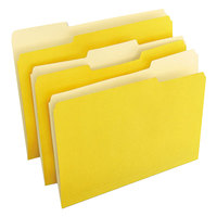 Universal UNV10504 Letter Size File Folder - Standard Height with 1/3 Cut Assorted Tab, Yellow - 100/Box