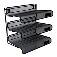 Universal UNV20006 12 1/2 inch x 9 1/4 inch x 12 1/2 inch Black 3 Section Mesh Desk Shelf