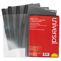 Universal Office UNV20515 11 inch x 8 1/2 inch Black Plastic Report Cover with Clear Cover and Clip Fastener, Letter - 5/Pack