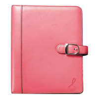 Day-Timer 48434 5 1/2 inch x 8 1/2 inch Pink Ribbon Loose-Leaf Organizer Set with Pink Leather Cover