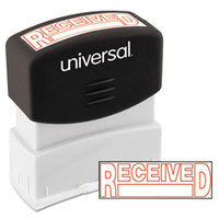 Universal UNV10067 1 11/16 inch x 9/16 inch Red Pre-Inked Received Message Stamp