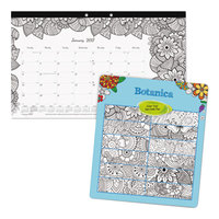 Blueline C2917001 DoodlePlan 17 3/4 inch x 10 7/8 inch Botanical Monthly January 2019 - December 2019 Desk Pad Calendar with Coloring Pages