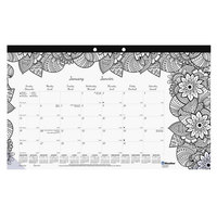 Blueline C2917001 DoodlePlan 17 3/4 inch x 10 7/8 inch Botanical Monthly January 2020 - December 2020 Desk Pad Calendar with Coloring Pages
