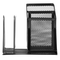 Universal UNV20002 5 3/4 inch x 5 1/8 inch x 5 1/8 inch Black 4 Section Wire Mesh Desk Organizer