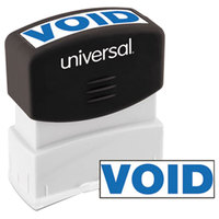 Universal UNV10071 1 11/16 inch x 9/16 inch Blue Pre-Inked Void Message Stamp