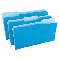 Universal UNV10521 Legal Size File Folder - Standard Height with 1/3 Cut Assorted Tab, Blue   - 100/Box