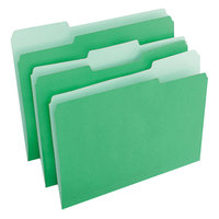 Universal UNV10502 Letter Size File Folder - Standard Height with 1/3 Cut Assorted Tab, Green - 100/Box