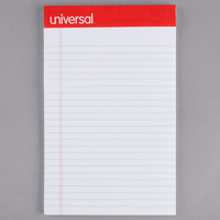 Universal UNV46300 5 inch x 8 inch Narrow Ruled White Perforated Edge Writing Pad - 12/Case