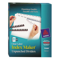 Avery 11444 Index Maker Unpunched 8-Tab Divider Set with Clear Label Strip - 25/Box