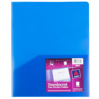 Avery 47811 11 inch x 8 1/2 inch Translucent Blue Two Pocket Plastic Folder, Letter
