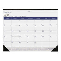 Blueline C177227 DuraGlobe 22 inch x 17 inch Monthly January 2019 - December 2019 Desk Pad Calendar