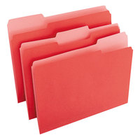 Universal UNV10503 Letter Size File Folder - Standard Height with 1/3 Cut Assorted Tab, Red - 100/Box