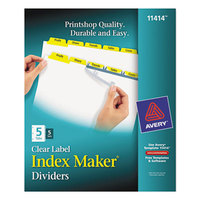 Avery 11414 Index Maker 5-Tab Yellow Divider Set with Clear Label Strip - 5/Pack