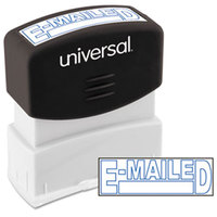 Universal UNV10058 1 11/16 inch x 9/16 inch Blue Pre-Inked E-mailed Message Stamp