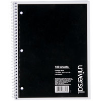 Universal UNV66600 11 inch x 8 1/2 inch Black 1 Subject College Ruled Wirebound Notebook - 100 Sheets