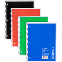 Universal UNV66624 10 1/2 inch x 8 inch Assorted Colors 1 Subject Wide Ruled Wirebound Notebook, 70 Sheets - 4/Pack