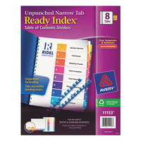 Avery 11153 Ready Index Narrow 8-Tab Multi-Color Unpunched Table of Contents Divider Set - 5/Pack