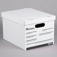 Universal UNV95223 15 inch x 12 inch x 10 inch White Letter/Legal Sized Corrugated Fiberboard Storage Box with Lift-Off Lid - 12/Case