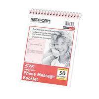Rediform Office 47296 Desk Saver Line Wirebound Message Book, 6 1/4 inch x 4 1/4 inch 2-Part, 50 Forms