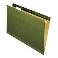 Universal UNV24215 14 inch x 8 1/2 inch Standard Green Reinforced Hanging Folder with 1/5 Cut Tab, Legal - 25/Box