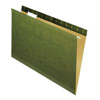Universal UNV24215 14 inch x 8 1/2 inch Standard Green Reinforced Hanging Folder with 1/5 Cut Tab, Legal - 25/Box