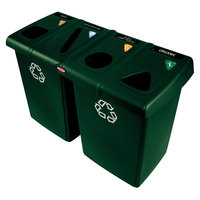 Rubbermaid 1792373 Glutton Dark Green Recycling Station - 92 Gallon