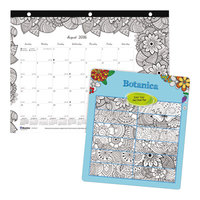 Blueline CA2917211 DoodlePlan 11 inch x 8 1/2 inch White Mini Monthly Academic August 2018 - July 2019 Desk Pad Calendar with Coloring Pages
