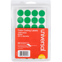 Universal UNV40115 3/4 inch Round Green Color Coding Labels   - 1008/Pack