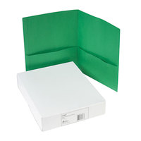 Avery 47987 11 inch x 8 1/2 inch Green Two Pocket Paper Folder, Letter - 25/Box