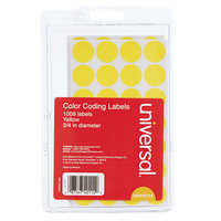 Universal UNV40114 3/4 inch Round Yellow Color Coding Labels - 1008/Pack