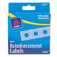 Avery 5722 1/4 inch Clear Hole Reinforcement Label with Dispenser   - 1000/Pack