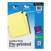 Avery 25181 Black Leather 12-Tab Jan-Dec Dividers with Copper Reinforced Edge