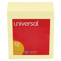 Universal UNV35672 3 inch x 5 inch Yellow Self-Stick Note - 12/Pack