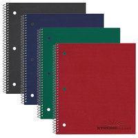 National 31384 8 7/8 inch x 11 inch Assorted Color College Rule 3 Subject Wirebound Notebook - 120 Sheets