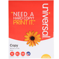 Universal Office UNV11289 8 1/2 inch x 11 inch White 20# Copy Paper - 5/Case