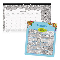 Blueline CA2917001 DoodlePlan 17 3/4 inch x 10 7/8 inch White Monthly Academic August 2017 - July 2018 Desk Pad Calendar with Coloring Pages
