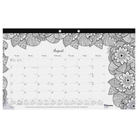Blueline CA2917001 DoodlePlan 17 3/4 inch x 10 7/8 inch White Monthly Academic August 2018 - July 2019 Desk Pad Calendar with Coloring Pages