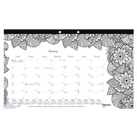 Blueline CA2917001 DoodlePlan 17 3/4 inch x 10 7/8 inch White Monthly Academic August 2019 - July 2020 Desk Pad Calendar with Coloring Pages