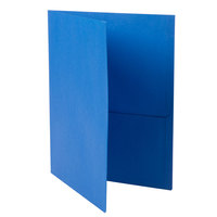 Universal Office UNV56601 11 inch x 8 1/2 inch Light Blue Two Pocket Embossed Leather Grain Paper Folder, Letter - 25/Box