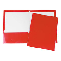 Universal Office UNV56420 11 inch x 8 1/2 inch Red Two Pocket Laminated Cardboard Paper Folder, Letter - 25/Box