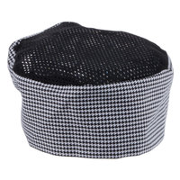 Chef Revival H009-R 20 inch-22 inch Houndstooth Poly-Cotton Blend Pill Box Chef Hat