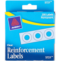 Avery 5721 1/4 inch Clear Hole Reinforcement Label with Dispenser - 200/Pack