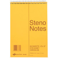 National 36646 6 inch x 9 inch Brown Gregg Rule Standard Spiral Steno Book - 60 Sheet