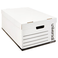 Universal UNV95221 24 inch x 15 1/8 inch x 10 1/4 inch White Legal Sized Fiberboard Storage Box with Lift-Off Lid - 12/Case