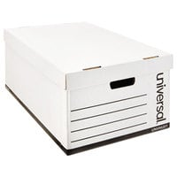 Universal UNV95221 24 inch x 15 1/8 inch x 10 1/4 inch White Legal Sized Fiberboard Storage Box with Lift-Off Lid