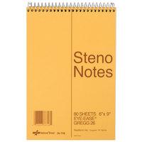 Rediform Office 36746 6 inch x 9 inch Green Gregg Rule Standard Spiral Steno Book - 80 Sheets